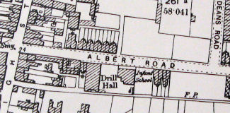 extract from  Ordnance Survey map (1897 edition) indicating Cosham drill hall