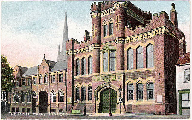 Postcard of Lincoln Drill Hall dated 1905